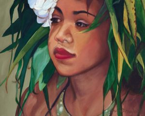 Dancer with Ti and White Plumeria | Aloha Art