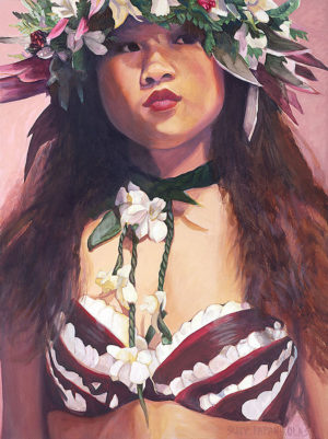 Dancer with White Orchids and Red Ti | Aloha Art
