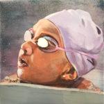 Swimmer in Lavender Cap | Hawaiian Art