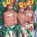 Three Dancers with Yellow Hibiscus | Aloha Art