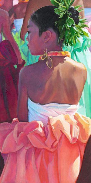 Wahine in Orange Skirt | Hawaii Art